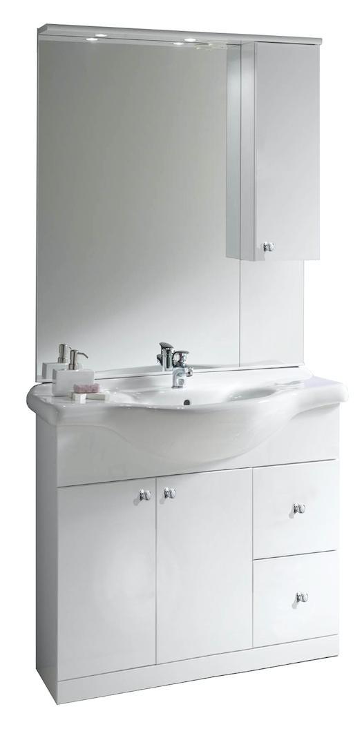 Lavabo Ceramica Per Bagno.Mobile Bagno Lavabo Ceramica Pensile Specchio Cm L105xh196p48 Bianco