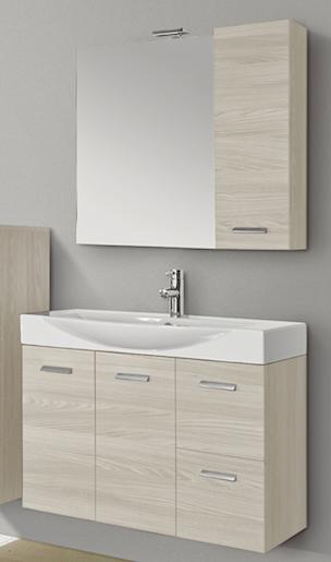 Lavabo Ceramica Per Bagno.Mobile Bagno Lavabo Ceramica Pensile Specchio Cm L105xh195p50 Olmo B